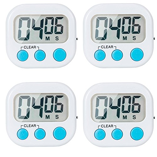 4 Pack Digital Kitchen Timer - Magnetic Back And ON/OFF Switch,Minute Second Count Up Countdown