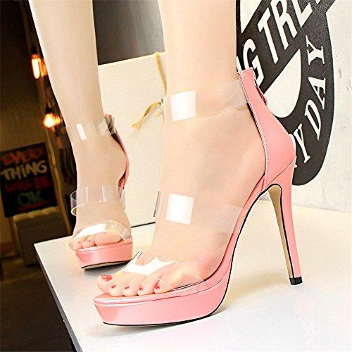 transparente Zapatos z de zapato hueca sexy palabra sandalias una plataforma amp;dw personalidad impermeable con con de Rosa estilo S7AFRn7q