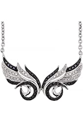 925 Sterling Silver Black & White Diamond Double Angel Feather Wing Pendant Necklace (1/5 Carat)