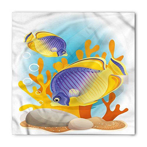 Ocean Bandana by Lunarable, Sealife Marine Navy Cartoon Design Exotic Wild Tiny Aquarium Fish Art, Printed Unisex Bandana Head and Neck Tie Scarf Headband, 22 X 22 Inches, Aqua Blue - Mari Ban