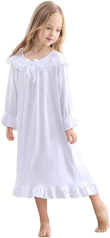 Gagacity Camisón Vintage Blanco para Niñas Elegante Longitud Completa Nightdress 85-150CM: Amazon.es: Ropa y accesorios