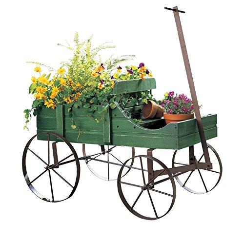 Amish Wagon Decorative Garden Planter Green  ,-WH#G4832 T...