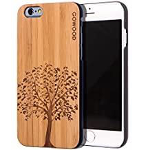 iPhone 6 Case - Wood - Real Natural Bamboo Wooden Backplate With Unique Tree Design and Shock Absorbing Polycarbonate Protective Bumper