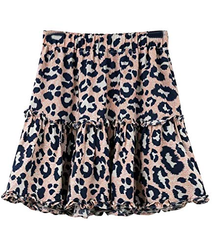 Women's Floral High Waist Drawstring Ruffle Flared Boho A-Line Pleated Skater Mini Skirt (Pink Leopard, M)