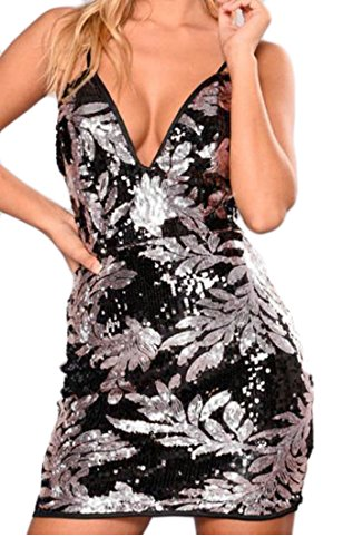 Cruiize Sequins Bodycon Silver Print Elastic Womens Dress Strap Spaghetti Club 44wqOrf