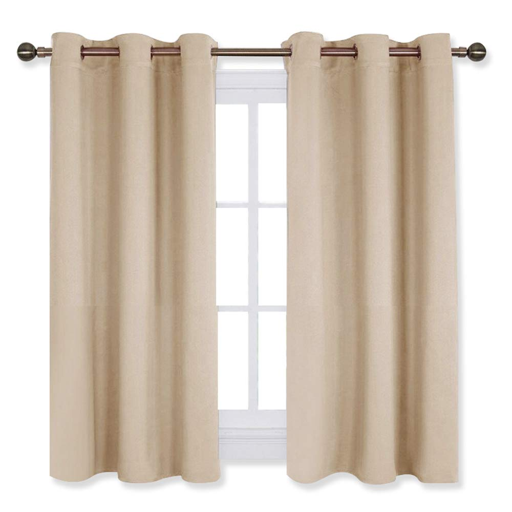 Three Pass Microfiber Thermal Insulated Ring Top Blackout Window Curtains W42 x L72, Gray, 2 Panels NICETOWN Thick Bedroom Blackout Draperies