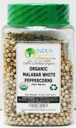 Indus Organics Malabar White Peppercorns, 8 Oz Jar, Premium Grade, High Purity, Freshly (Organic White Corn)