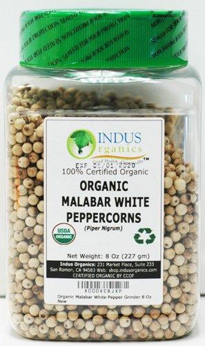 Indus Organics Malabar White Peppercorns, 8 Oz Jar, Premium Grade, High Purity, Freshly Packed