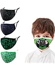 Kids Adjustable Reusable Face Masks,Toddler Breathable Fabric Cotton Cloth Game Cute Funny Designer Fashion Madks Earloops, Child Washable Outdoor Kawaii Mascarilla Gifts For Youth Girls Boys