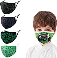 Kids Adjustable Reusable Face Masks,Toddler Breathable Fabric Cotton Cloth Game Cute Funny Designer Fashion Ma
