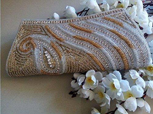 La Beaded Handbag Regale (Elegant beaded wallet #Bridal Clutch # Indian wedding bag # Bridal evening party purse # hand beaded art deco)