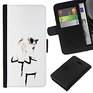 KingStore / Leather Etui en cuir / Sony Xperia M2 / Diseñar ropa Chique Glamorous;