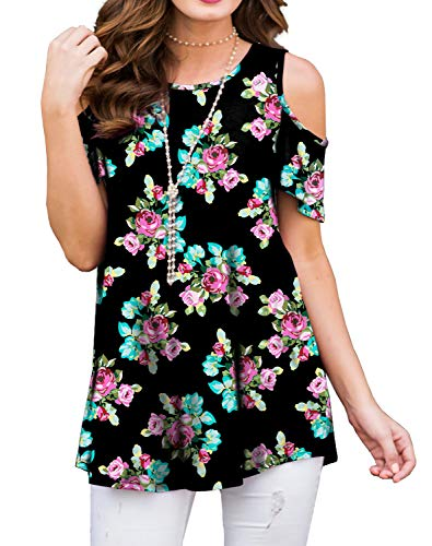 (PrinStory Women's Short Sleeve Casual Cold Shoulder Tunic Tops Loose Blouse Shirts Small Floral Black-L)
