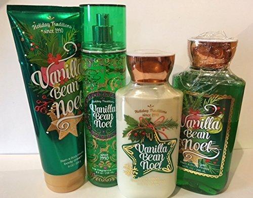 Bath & Body Works Vanilla Bean Noel Holiday Gift Set~Full Size Body Lotion, Shower Gel, Fragrance Mist & Body Cream