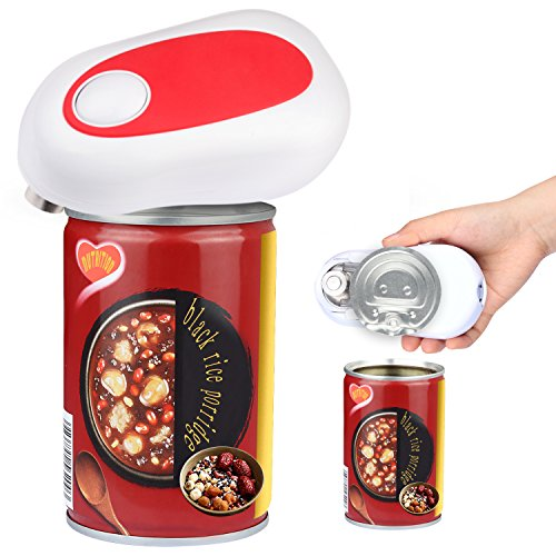 Can Opener, Electronic Can Opener Automatic Jar Opener Smooth Soft Edge with One Touch Start Can Tin Opener 4AA Batteries Operated