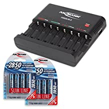 ANSMANN Powerline 8 AAA & AA Smart Battery Charger for AA, AAA Rechargeable Batteries w. Discharge function and USB-Port (e.g. for iPhone, Android) + 2850mAh Slimline AA Batteries (8-Pack)