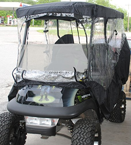 Rain Cover Enclosure for LIFTED CARTS Golf Cart 4 Four passenger with Extended Roof and Back Seat Black EZGO Clubcar Yamaha by Rugged Covers (Image #2)