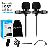 Premium 196' Dual-head Lavalier Microphone, Professional Lapel Clip-on Omnidirectional Condenser Mic for Apple iPhone,Android,PC,Recording Youtube,Interview,Video Conference,Podcast - FREE BONUS