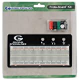 Global Specialties PB-83E Externally Powered Breadboard with Metal Back Plate, 830 Tie-point