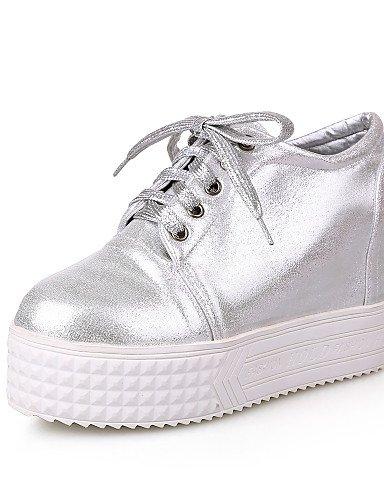 ZQ hug Zapatos de mujer - Plataforma - Tacones / Plataforma - Tacones - Exterior / Casual - Semicuero - Blanco / Plata , silver-us8 / eu39 / uk6 / cn39 , silver-us8 / eu39 / uk6 / cn39 white-us8 / eu39 / uk6 / cn39