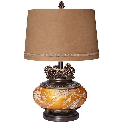 Pine Peak Amber Orb Etruscan Gold Pinecone Table (Bulbous Lamp)