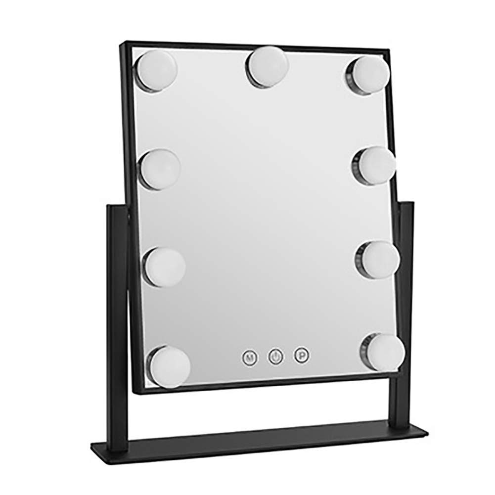 LED Makeup Mirror Large Vanity Mirror with 9 LED Light Bulbs Touch Screen Countertop Cosmetic Mirror for Bathroom Bedroom Dresser, 10in x 12in (black)