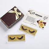 Fake Eyelashes 3D Mink Fur False Eyelashes Thick Cross Style 2 Pairs Easy Eye Lashes For Makeup