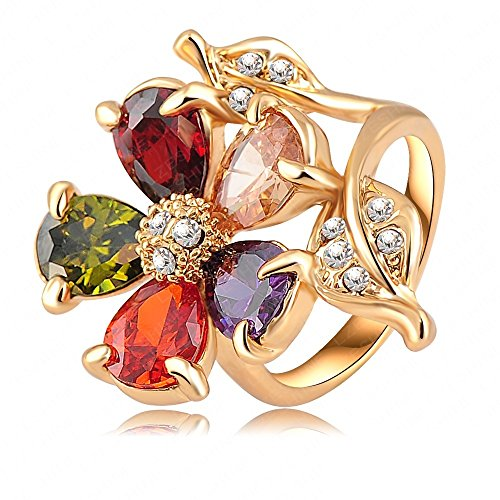 Price comparison product image AnaZoz Jewelry 18K Gold Plate Multicolor Zircon Austrian Crystals Flower Engagement Rings 9
