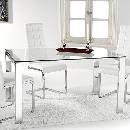 Adec - Universal, Mesa Comedor, Mesa Salon, Cocina, Estructura Metalica Cromada y Cristal Templado Translucido, Medidas: 140 cm (largo) x 90 cm (ancho) x 73,5 cm (al