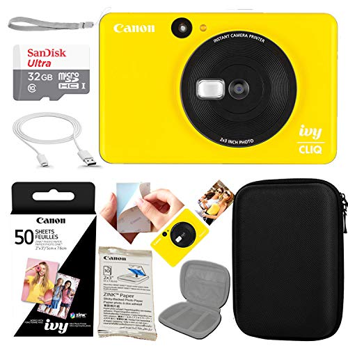 Canon Ivy CLIQ Instant Camera Printer (Bumblebee Yellow) w/ 50 Sheets of Photo Paper Kit + 32GB Micro SD Card and All-Inclusive Device Case Bundle