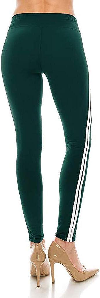 Lenfesh Leggings mit Seitenstreifen Laufhose Damen Elastische Yogahose mit Hosentasche Hohe Taille Sport Leggins f/ür Fitness Sporthose Tights Lang Yoga Hose