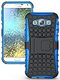 Heartly Flip Kick Stand Spider Hard Dual Rugged Armor Hybrid Bumper Back Case Cover For Samsung Galaxy E5 SM-E500F Dual Sim - Power Blue
