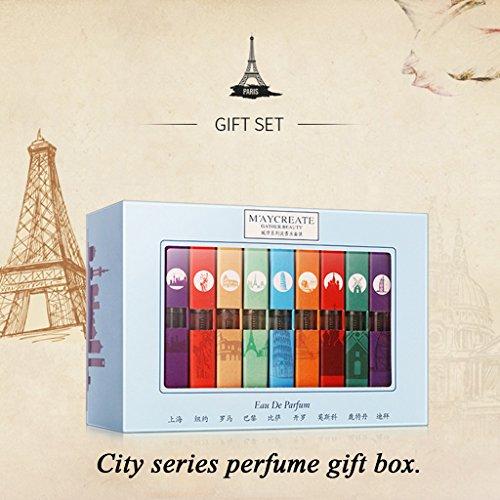 SYlive 9Pcs Women Mini Perfume Gifts Set City Fragrances Kit Spray Aromatic Water 3ml -