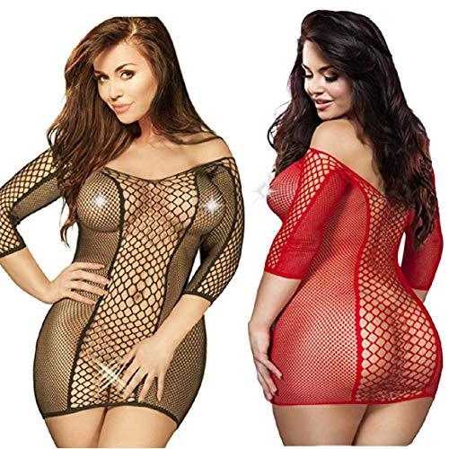 LOVELYBOBO 2 Pack Plus Size Women's Seamless Fishnet Chemise Sexy Lingerie Mesh Hole Full Length Sleeves Babydoll (Black+red) -