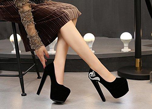 007 zapatos 16 XiaoGao adorno perlas de super y cm negro de cadena de tacones aX4xX7qA