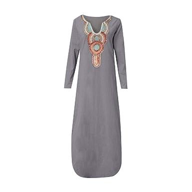 0acb62690031e RAINED-Women's Long Sleeve Maxi Dress Crewneck Printed Split Hem Baggy Maxi  Dress Beach Kaftan