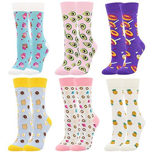 BONANGEL Calcetines Estampados de las Mujeres, Mujeres Ocasionales Calcetines Divertidos Impresos de Algodon de Pintura Famosa de Arte Calcetines, Calcetines de Colores de moda (6 Pares-Donut1)