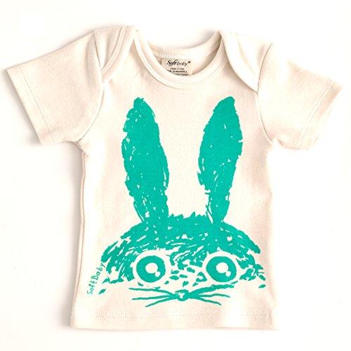 SoftBaby Organic Cotton Tee - Blue Rabbit Head