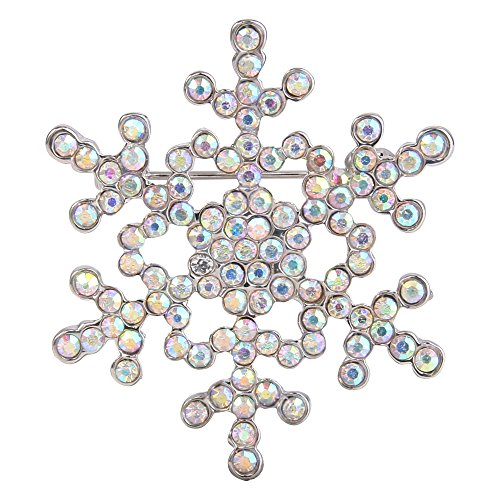 EVER FAITH Women's Austrian Crystal Elegant Snowflake Brooch Pin Iridescent Clear AB Silver-Tone