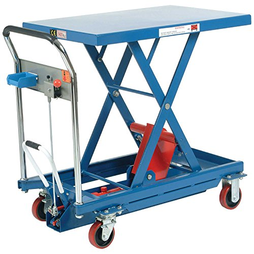 Mobile Scissor Lift Table with Hook-on Bin, 35 x 23 Platform, 1100 Lb. Capacity by Global Industrial