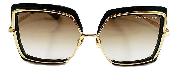 Dita Narcissus negro y oro cepillado gafas de sol en lente ...