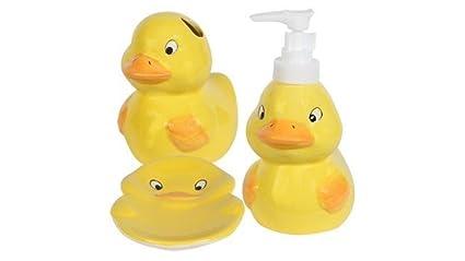 Beau Kids Jungle Friends Stoneware Bathroom Accessories (Yellow Rubber Ducky Duck)  By Greenbriar