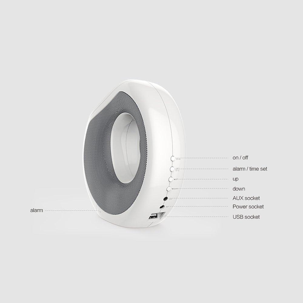 Fesjoy MC1 BT Lautsprecher mit QI Wireless Ladefunktion NFC Pairing LCD Zeitanzeige Wecker USB Lade Compatible with iPhone X iPhone 8 Samsung S8