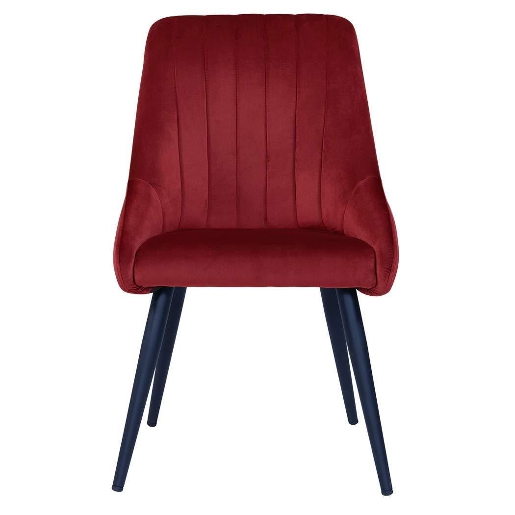 Duhome 2er Set Esszimmerstuhl aus Stoff SAMT Rot Stuhl Retro Retro Retro Design Polsterstuhl mit Rückenlehne Metallbeine Farbauswahl 8066 c944fd