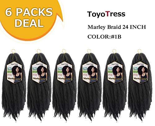 Toyo Tress Marley Hair For Twists 24 Inch 6packs Long Afro Marley Braid Hair 100% Kanekalon Synthetic Fiber Marley Braiding Hair Extensions (24, 1B)