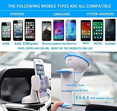 Blue Galaxy S7//S6 SURMEG Portable Adjustable Cell Phone Holder Dashboard and Windshield Car Air Vent Mount Holder for IPhone 7//6s//6