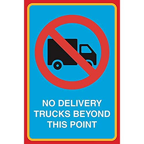 """Diuangfoong No Delivery Trucks Beyond This Point Print Picture Notice Road Street Office Business Aluminum Metal Tin 12""""x18"""" Sign Plate from Diuangfoong"""