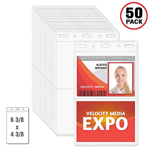 Zip Card Office - MIFFLIN 2-Pocket Conference ID Badge Holder, Quick Load No Zip Trade Show Card Holder (Clear, 50 Pack)