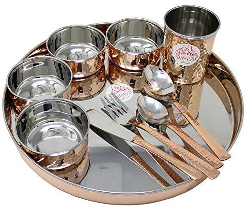 SKAVIJ Copper Dinnerware Platter Thali Set with Cup, Bowls, Spoons, Fork and Knife (12 Inch, Pack of 8)
