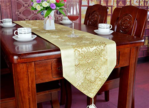 US-ROGEWIN Table Runner Chinese Style Silky Satin Luxury Beautiful Wedding Decoration Knot Tassel Tea Bed Flag Tablecloth]()